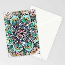 Bohemian Colorful Watercolor Floral Mandala Stationery Cards
