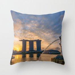 Singapore Merlion Park at sunrise Throw Pillow