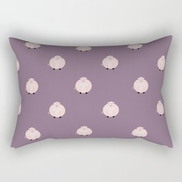 Pigs Purple Rectangular Pillow