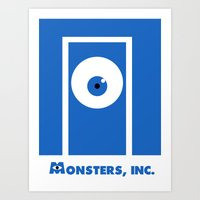 monsters inc Art Prints featuring Monsters, inc. by Citron Vert