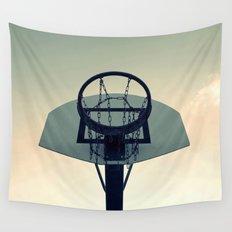 Basketball Sunset Wall Tapestry