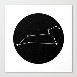 Leo Star Sign Night Sky Circle Canvas Print