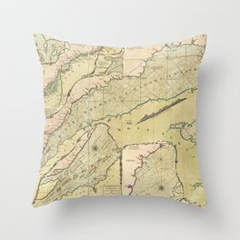 Map of the Saint Lawrence River (1771) Throw Pillow