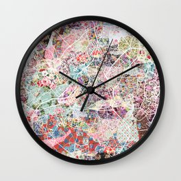 Lille map Wall Clock