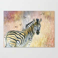 Zebra in Rainbow Savanna Canvas Print