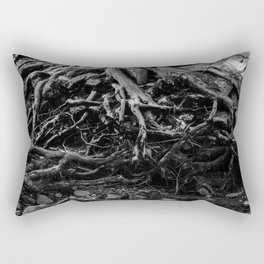Black and White Tree Root Photography Print Rectangular Pillow