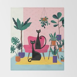 Sleek Black Cats Rule In This Urban Jungle Throw Blanket