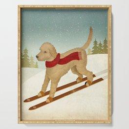 Doodle Schnoodle Whoodle Labradoodle Goldendoodle Ski Dog Serving Tray