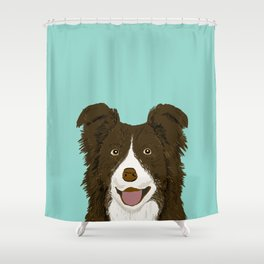 Border Collie chocolate brown cute working dog breed herding dogs gift for border collie owner pets Shower Curtain
