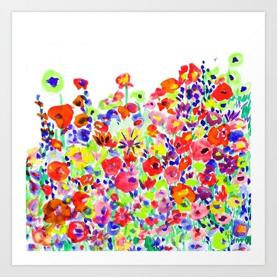 Flower Fields Tangerine Art Print