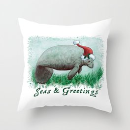 """Seas and Greetings ~ """"The Manatee"""" by Amber Marine ~ Watercolor ~ (Copyright 2015) Throw Pillow"""