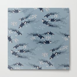 Orca in Motion / blue-gray ocean pattern Metal Print