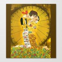 klaine Canvas Prints featuring KLAINE KISS by Tacodemuerte