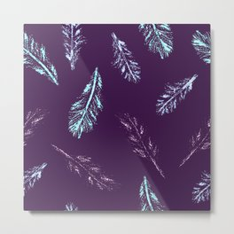 Pencil Feathers Pattern on Purple Metal Print