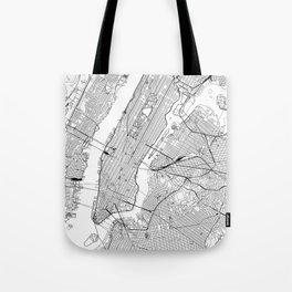 New York City White Map Tote Bag
