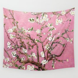 Vincent van Gogh Blossoming Almond Tree (Almond Blossoms) Pink Sky Wall Tapestry