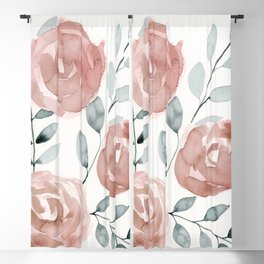 Antique Roses, Peach, Pink, Blush Watercolor Flowers Blackout Curtain
