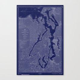 Puget Sound Washington State Nautical Chart Map Print 1956 Dark Blue, Map Art Prints Canvas Print