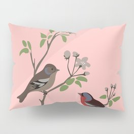 Peaceful harmony in the cherry tree - Illustration Pillow Sham