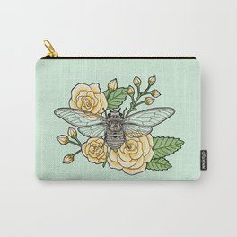 Cicada with Roses - Mint Carry-All Pouch
