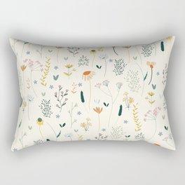 Vintage Inspired Wildflower Print Rectangular Pillow