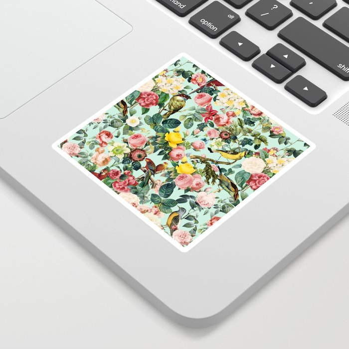 Floral and Birds III Sticker