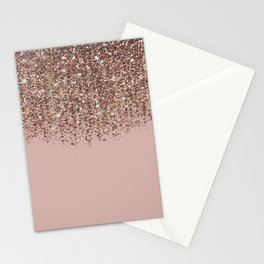 Blush Pink Rose Gold Bronze Cascading Glitter Stationery Cards