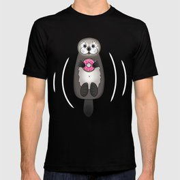 Sea Otter with Donut - Cute Otter Holding Doughnut T-shirt