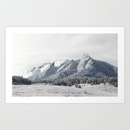 Frosty Flatirons Art Print