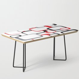 Red Black Gray Retro Square Pattern White Coffee Table
