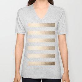 Simply Stripes in White Gold Sands Unisex V-Neck