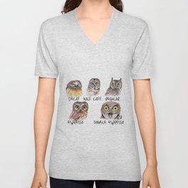 Owl Caffeine Meter -  funny owl coffee Unisex V-Neck