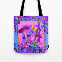 BUTTERFLIES & PURPLE-BLUE MORNING GLORY VINES  PINK VINETTE Tote Bag