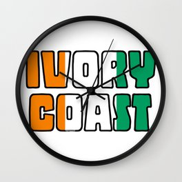 Ivory Coast Font with Ivorian Flag Wall Clock