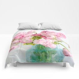 Dreamy Shabby Chic Ranunculus Peonies Roses Print - Spring Summer Garden Flowers Mason Jar Comforters