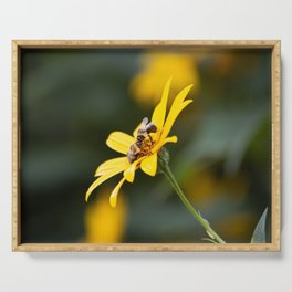 Two bees on a flower Serving Tray