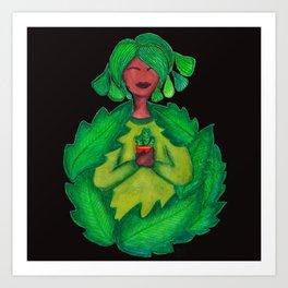Green Fingers - Background Black Art Print