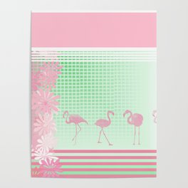Baby Pink And Mint Green Flamingo Poster