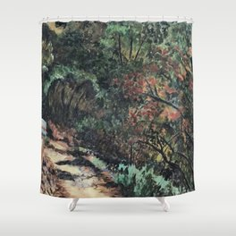 Lighted Path Through Green - Oil on canvas painting Shower Curtain