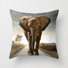 Lonely Elephant Throw Pillow