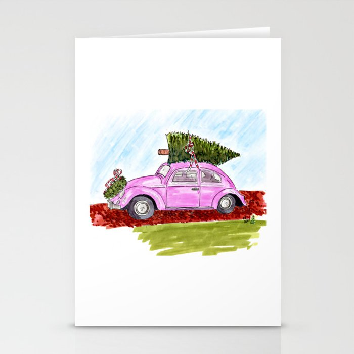 Car on Holiday Stationery Cards
