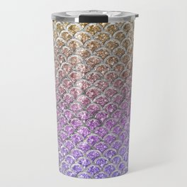 Pastel Glitter Mermaid Scallops Pattern Travel Mug