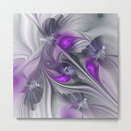 Magic, Violet And Gray Fractals Art Abstract Metal Print