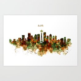 Seattle Watercolor Skyline Poster Art Print