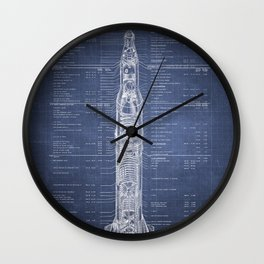 Apollo 11 Saturn V Blueprint in High Resolution (dark blue) Wall Clock
