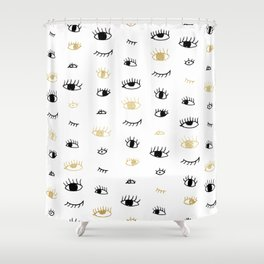 Funny fashion gold and black cute eyes pattern Shower Curtain