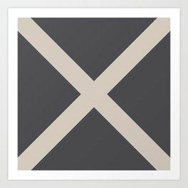 Nautical Flag - Letter M (Charcoal Black, Cream) Art Print