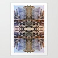 Downtown Mirrored Art Print