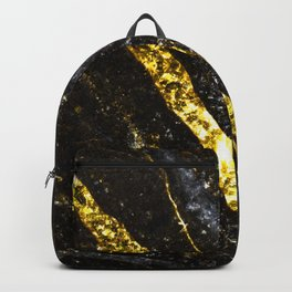 Gold sparkly line on black rock Backpack