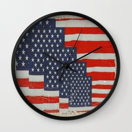 Patriotic Americana Flag Pattern Art Wall Clock